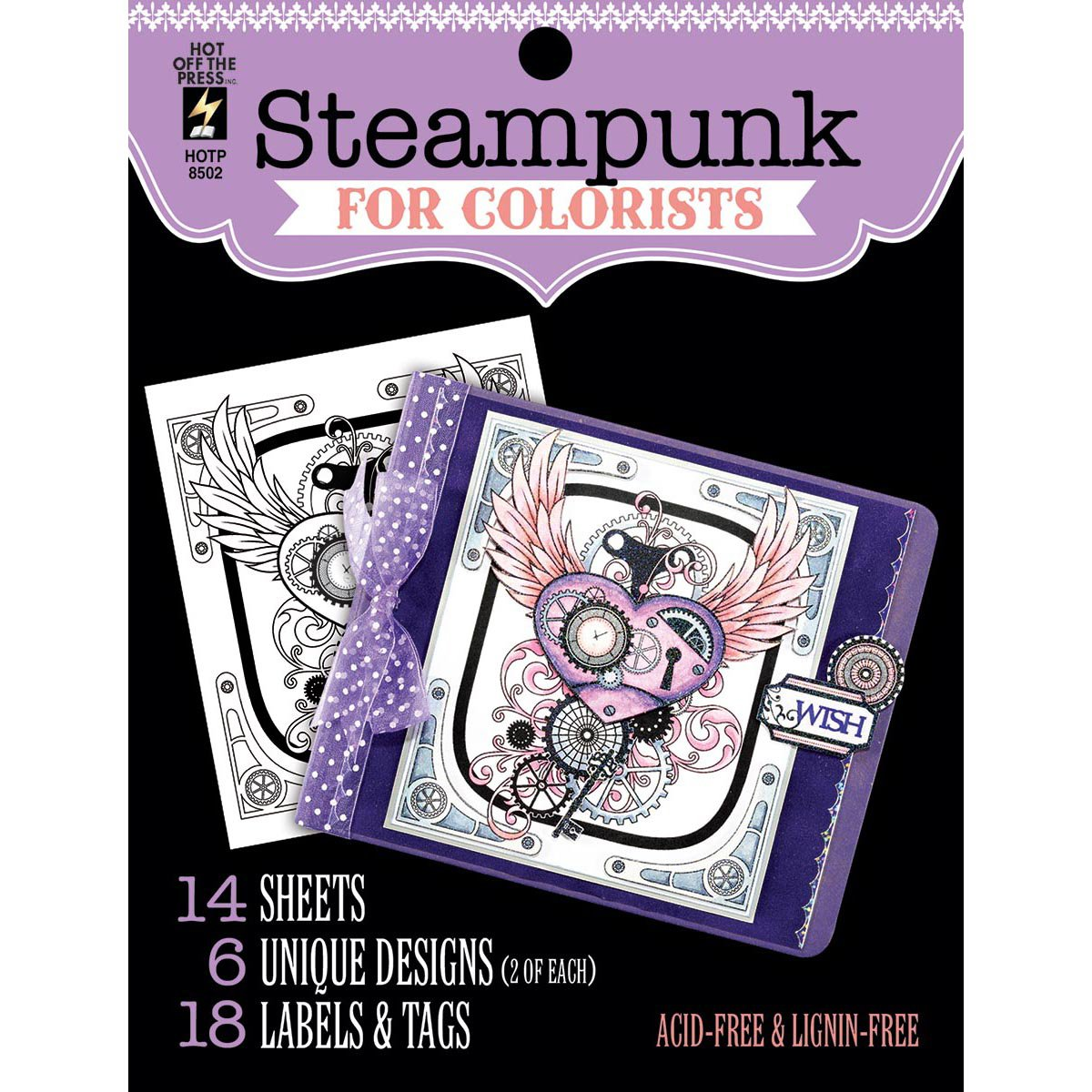 Hot Off the Press For Colorist Book - Steampunk - 14 Black & White Sheets of Heaav Card to Color with Pens Pencils, Markers Gelatos 8502