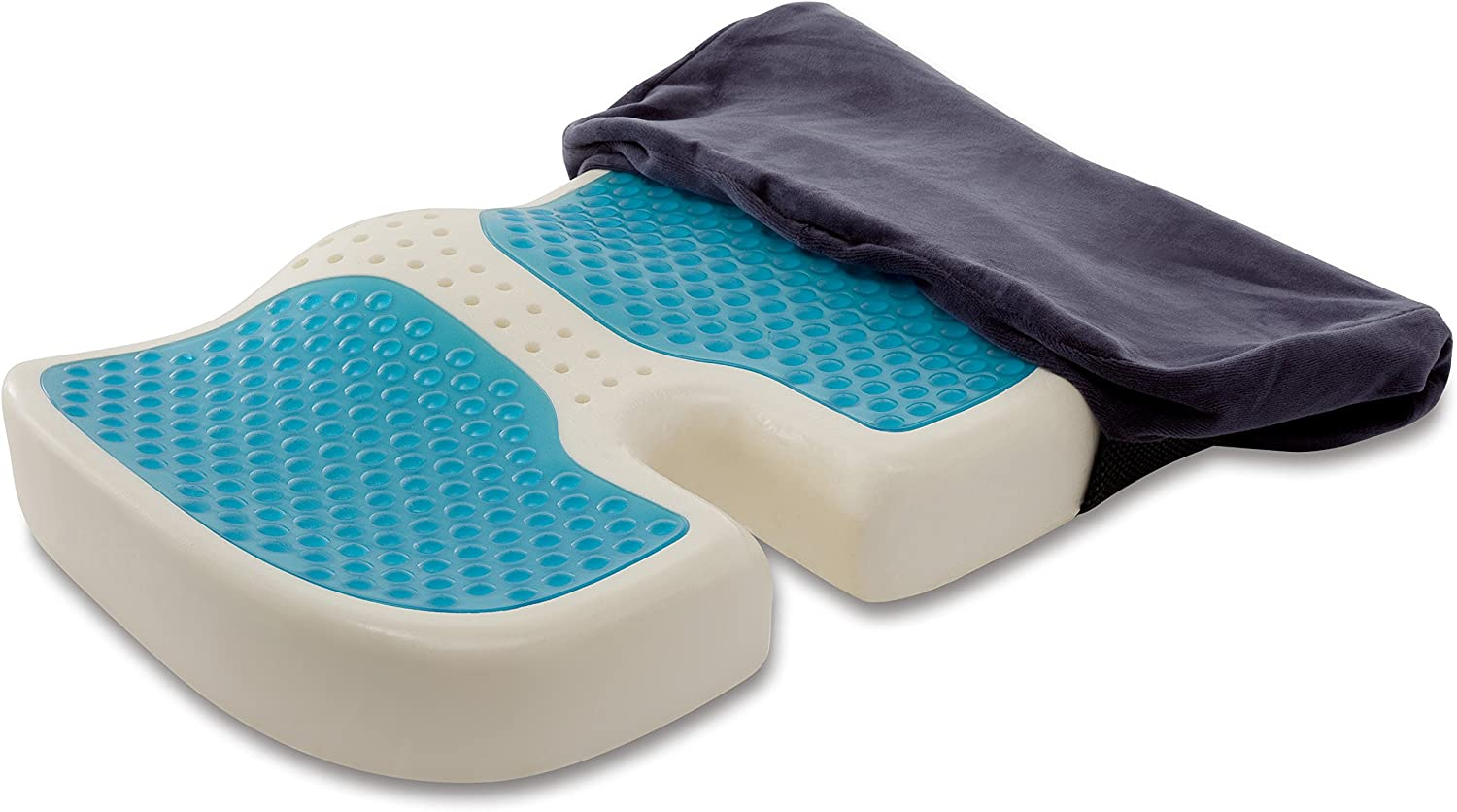 TravelMate Gel-Enhanced Memory Foam Seat Cushion – Perfect for Office Chair & Car Seat Cushion – Helps Relief from Tailbone Pain – Reduce Pressure on Coccyx & Hip – Non-Slip Washable Cover