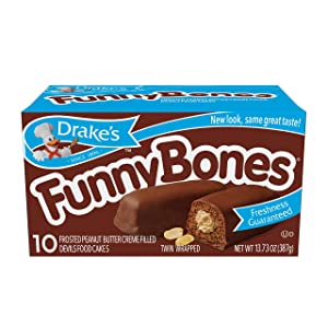 Drake's Funny Bones, 10 Twin-Wrapped Peanut Butter Creme-Filled Devils Food Cakes (Pack of 1)
