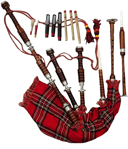 a24d2e6d25 Amazon.com  AC Kilts Great Highland bagpipe Rosewood brown with silver  mounts free learning book and accessories  Musical Instruments