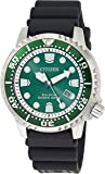 Citizen Men's Promaster Dive Watch with Eco-Drive Technology in Stainless Steel Green Dial, Black Rubber Strap, BN0158…