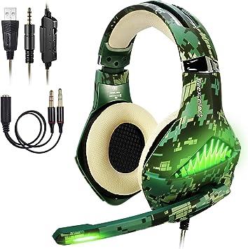 ShinePick Cascos PS4 Camuflaje, Auriculares Gaming con Microfono ...