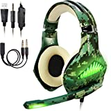 BlueFire Upgraded Professional PS4 Gaming Headset 3.5mm Wired Bass Stereo Noise Isolation Gaming Headphone with Mic and LED Lights for Playstation 4, Xbox one, Laptop, PC(Camo)