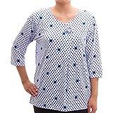 Lucky Shirt - Rundhals 3/4 Arm T-Shirt mit Punkten und Brosche - Hollywood Kollektion