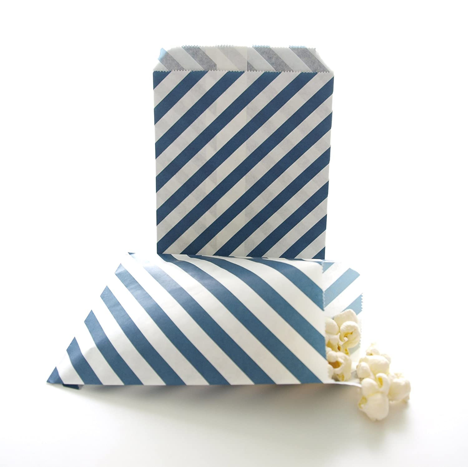 Amazon.com: Navy Blue Candy Buffet Bags / Wedding Favor Paper Goodie ...