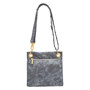 e8fb91cca Hammitt Women's Paul Embossed Crossbody Bag Awa Buffed Grey with Brushed  Gold Accents Embossed Red Suede