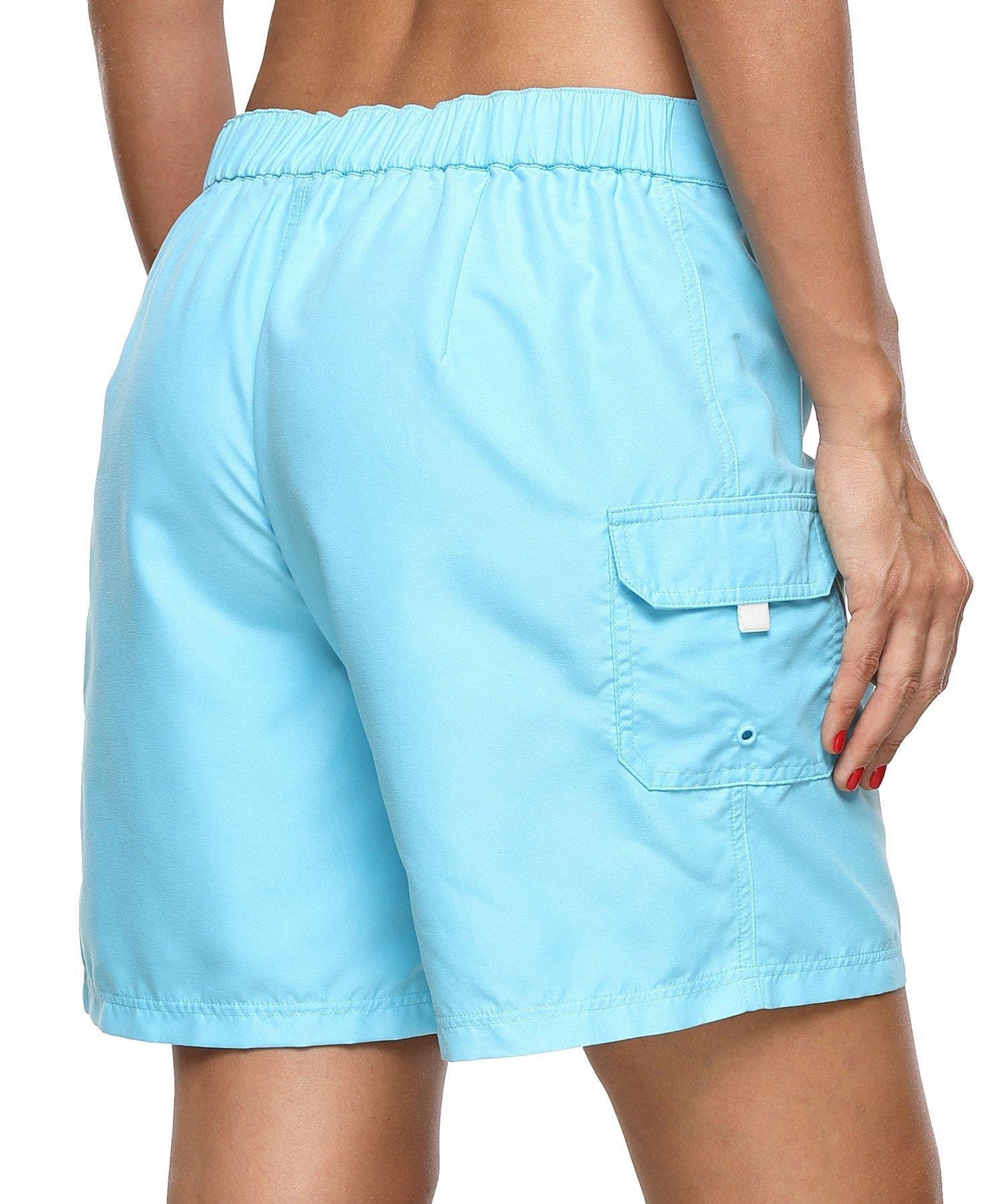 ATTRACO Women's Long Board Short Side Pocket Drawstring Swimwear Shorts Blue Large by ATTRACO (Image #4)