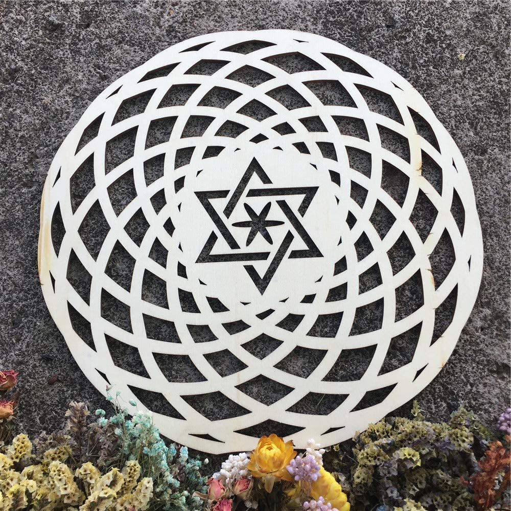 Simurg Wooden Wall Decor Wooden Wall Sculpture for Home, Office, Yoga Studio (Star of david seed of life wooden color, 11.5 Inch (29CM))