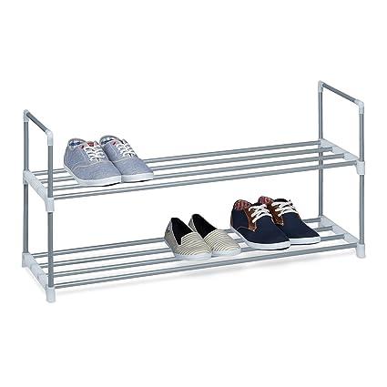 weiß 20 Paar Schuhschrank Metall Schuhregal COUNTRY mit Stoff 8 Schuhablagen