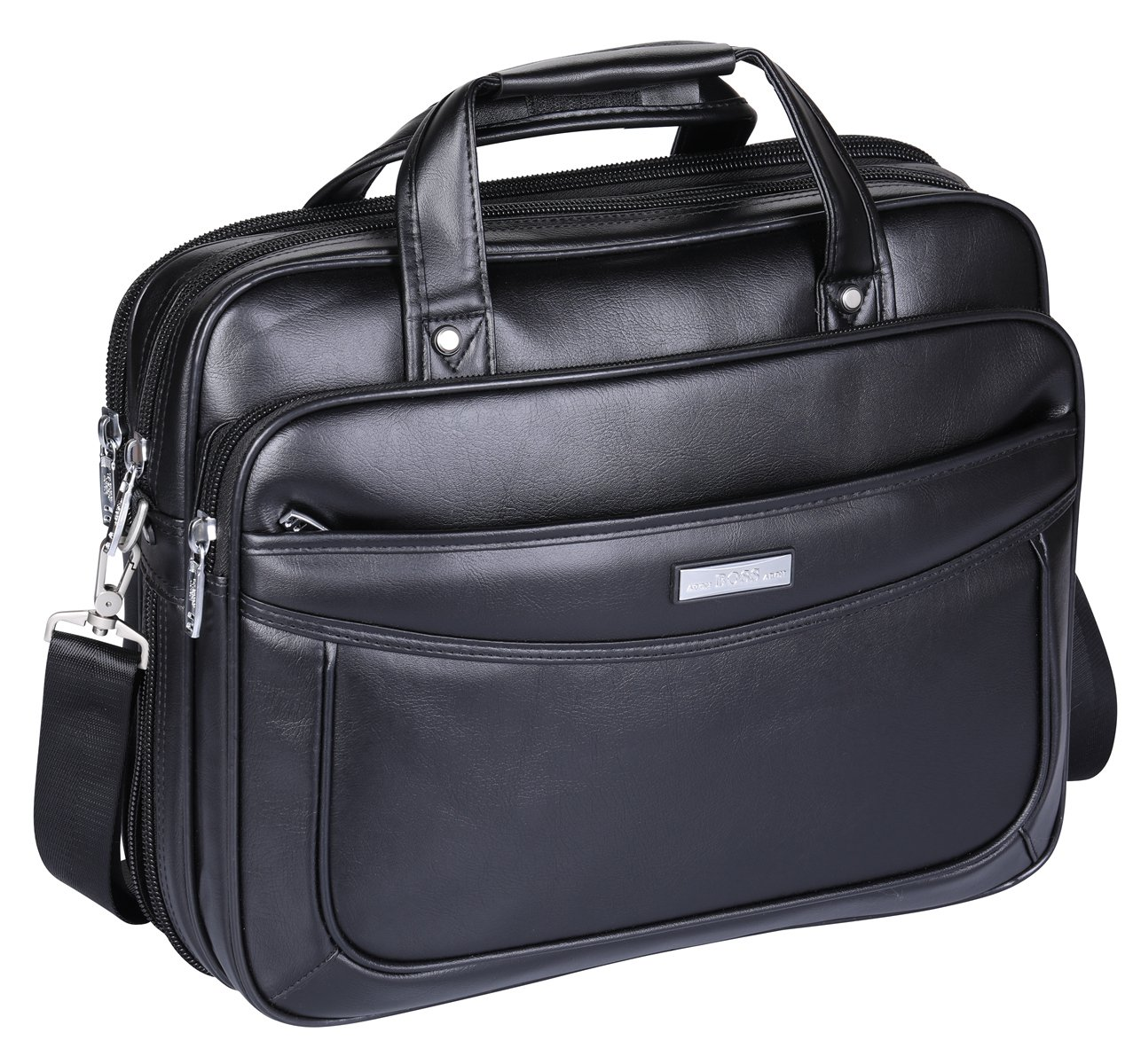 Leather 16 inch Laptop Briefcase, BOSSARON Water Resistant Large Shoulder Bag Functional Business Handle Bag for 15.6 inch Laptop (Black-AC1)