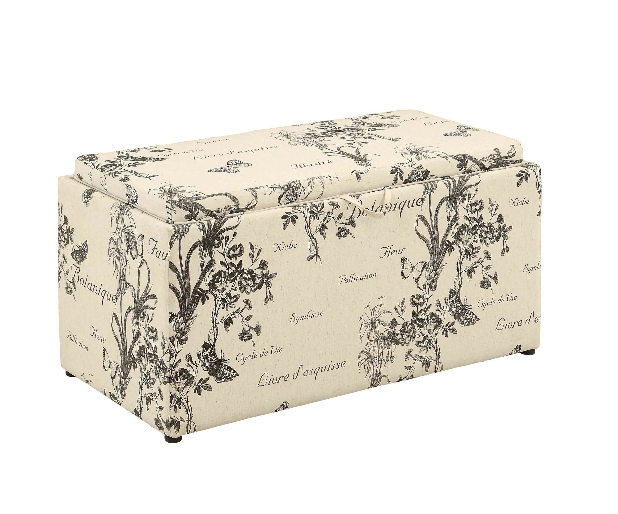 Convenience Concepts Designs4Comfort Sheridan Storage Bench with Two Side Ottomans, Botanical Print