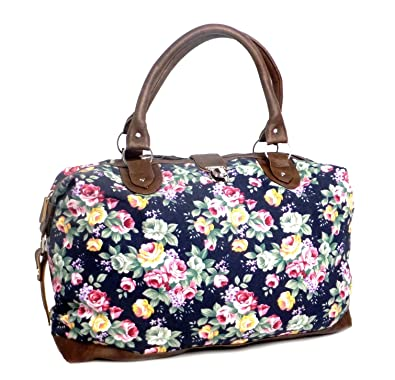c975b7fe9a Womens Canvas Overnight Bag Ladies Weekend Travel Holdall Hand Luggage  Cabin Bags (Navy Floral)  Amazon.co.uk  Shoes   Bags