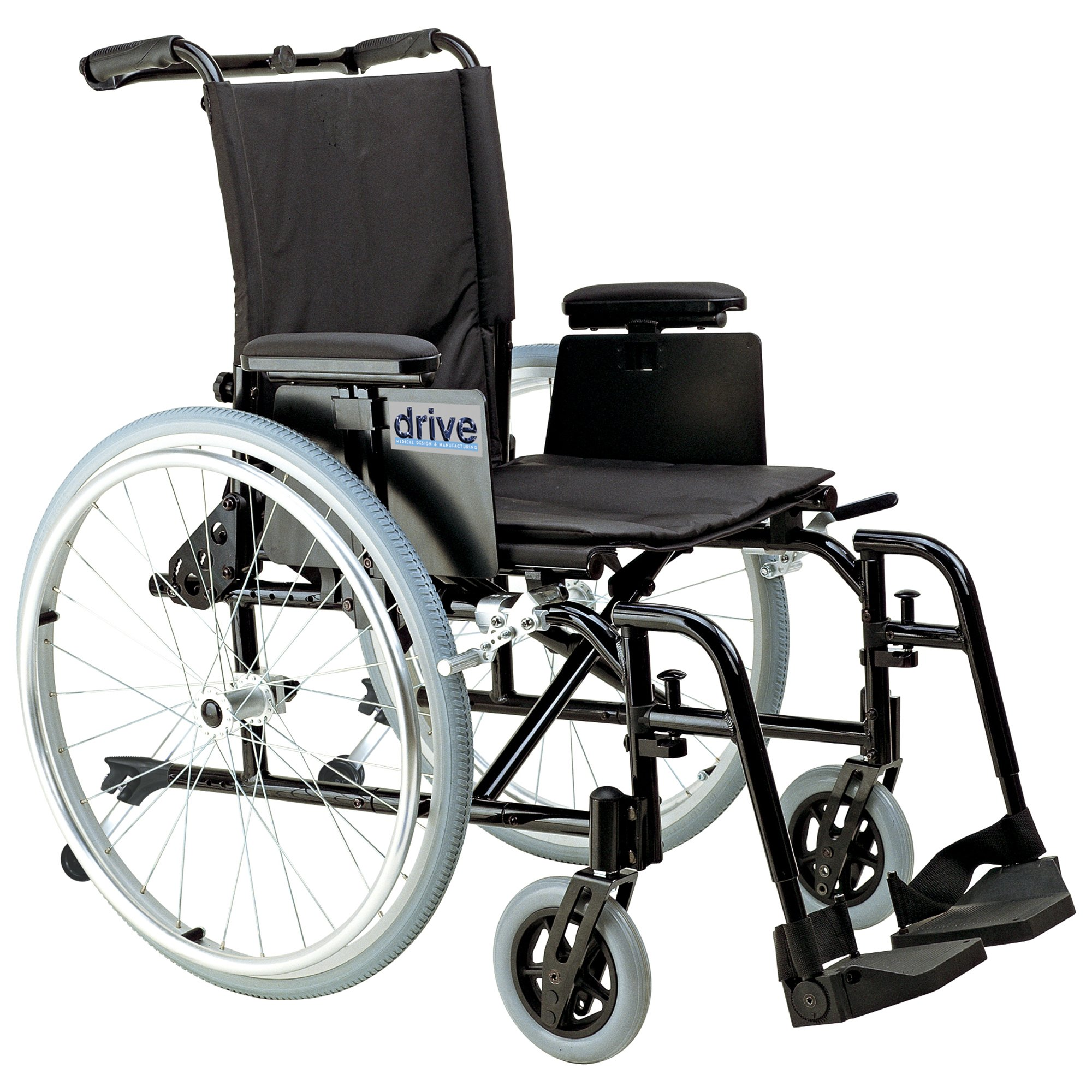 Drive Medical Cougar Ultra Lightweight Rehab Wheelchair with Various Arms Styles and Front Rigging Options, Black, 16''