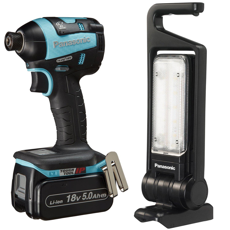 パナソニック(Panasonic) 充電インパクトドライバーLEDマルチ投光器セット18V5.0Ah 青限定品 EZ75A7LJ2GTA B0763NHFPB 青ライト付き限定