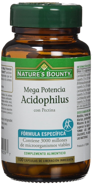 Natures Bounty Mega Potencia Acidophilus con Pectina - 100 Cápsulas: Amazon.es: Salud y cuidado personal