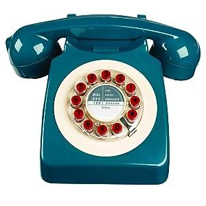 Wild Wood Rotary Design Retro Landline Phone for Home, Petrol Blue