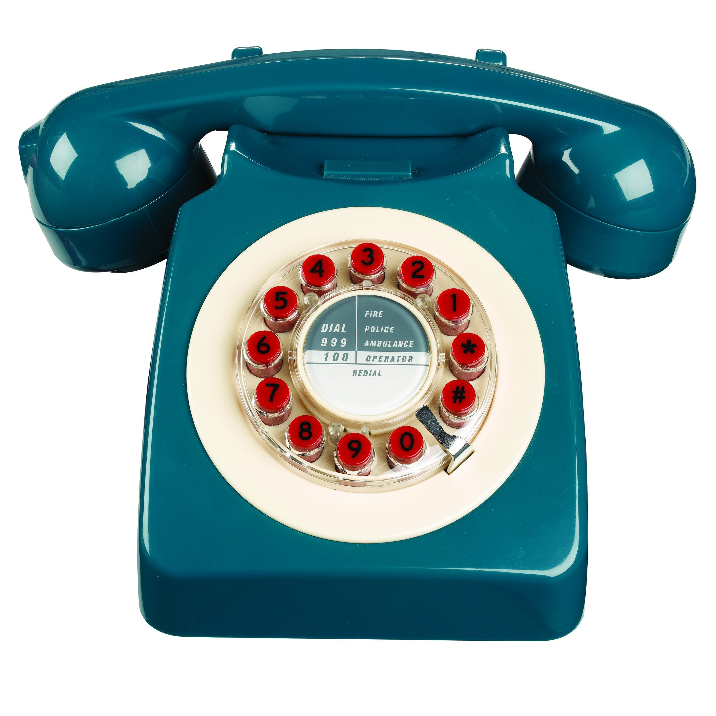 Wild Wood Rotary Design Retro Landline Phone for Home, Petrol Blue
