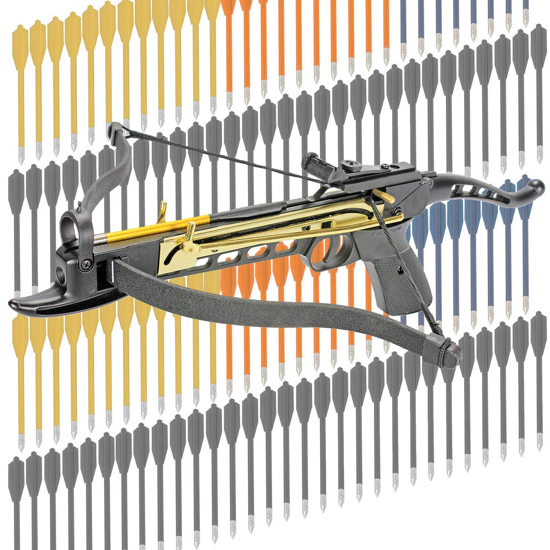 KingsArchery Crossbow Self-Cocking 80 LBS Adjustable Sights, 3 Aluminium Arrow Bolts Bonus 120-pack Colored PVC Arrow Bolts Warranty by KingsArchery
