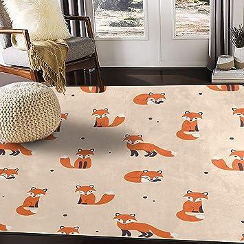 Amazon Com Alaza Cute Polka Dot Cartoon Foxes Area Rug Rugs For Living Room Bedroom 7 X5 Furniture Decor