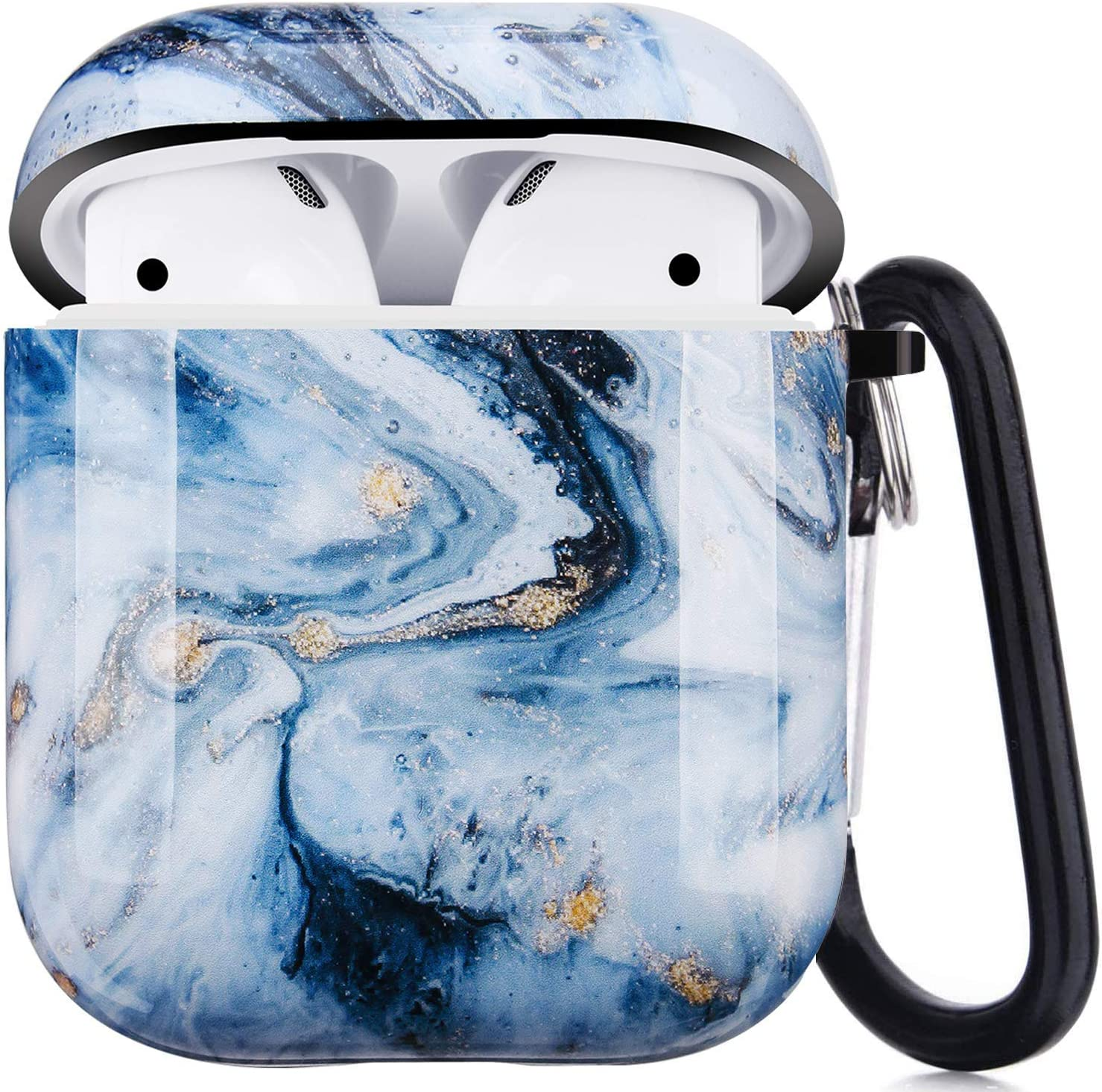 Airpods Case - LitoDream Cute Marble Protective Hard Case Cover Skin Portable & Shockproof Women Girls with Keychain for Apple Airpods 2/1 Charging Case (Blue Marble)