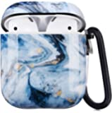 Airpods Case - LitoDream Cute Marble Protective Hard Case Cover Skin Portable & Shockproof Women Girls with Keychain for…