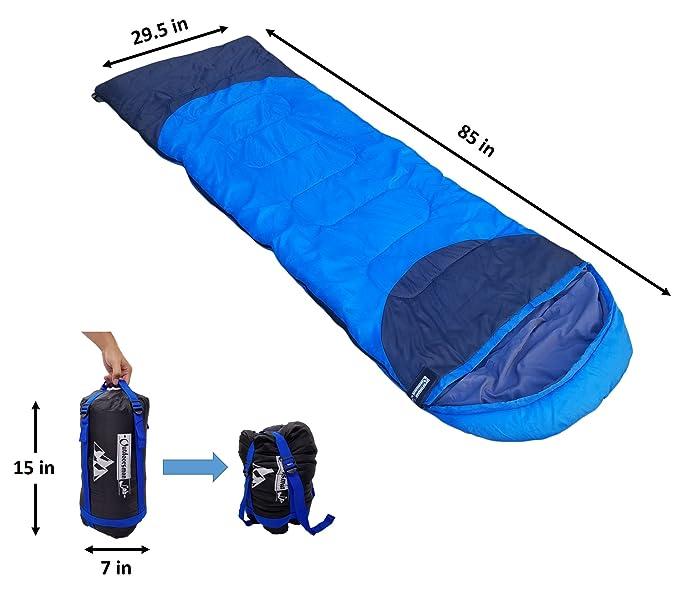 Saco de dormir ligero para campamentos, mochilear, para niños, hombres y mujeres, bajas temperaturas, ultraligero, compacto, plegable, ...