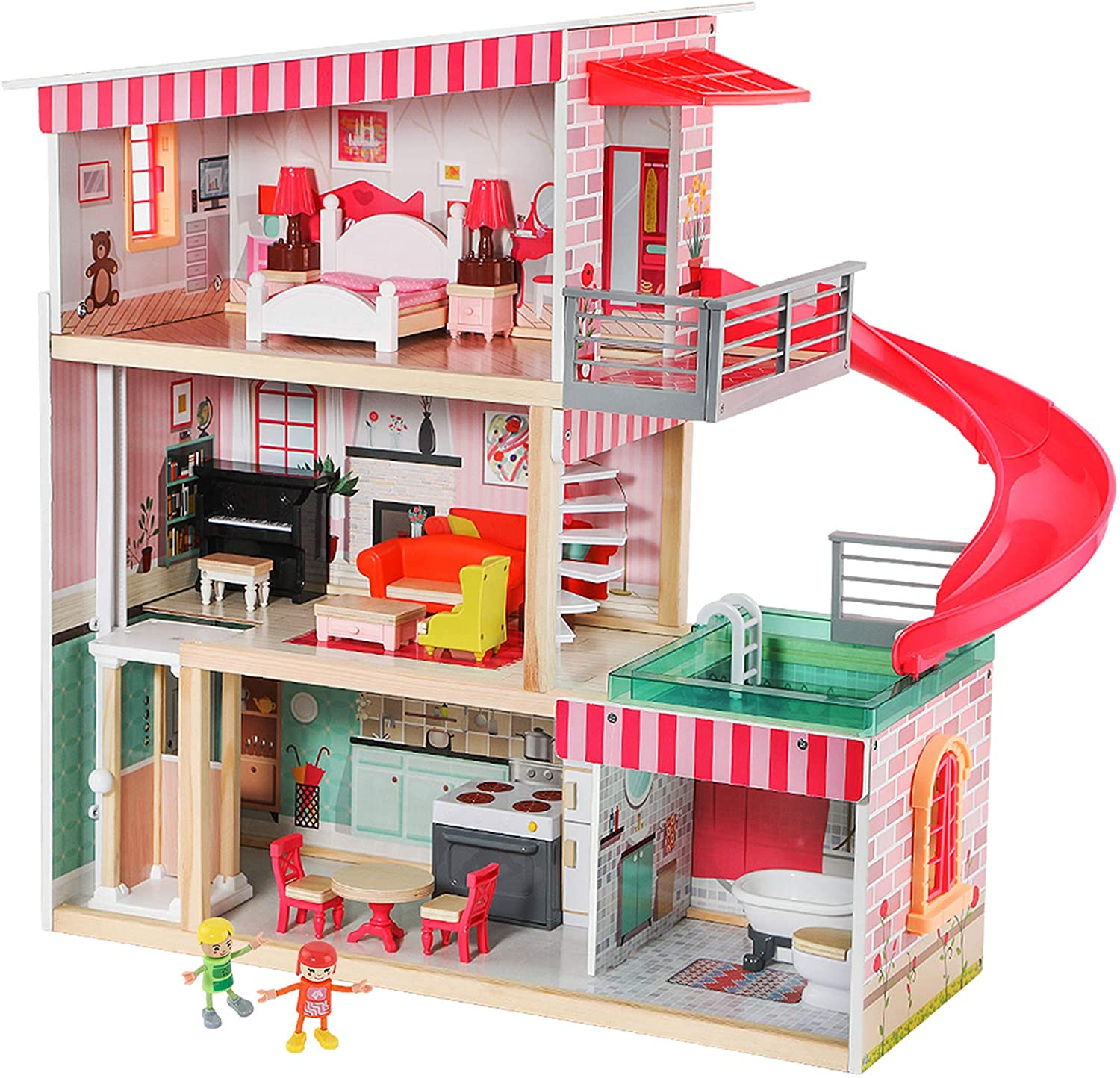 TOP BRIGHT Dollhouse with Furniture and Dolls, Wooden Doll House for Little Girls 3 4 5 Year olds, 18 Furniture with Sounds and Lights