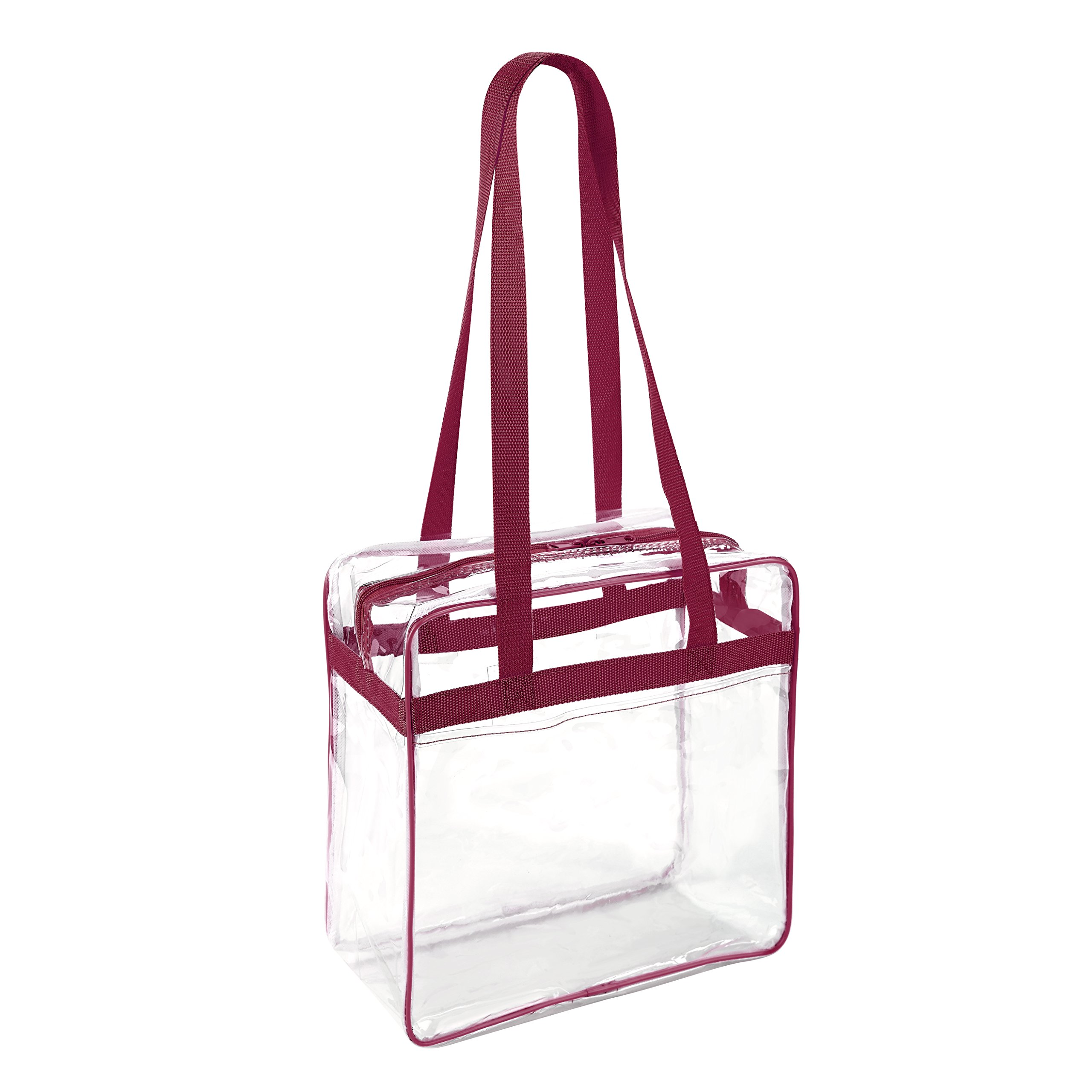 Clear 12 x 12 x 6 NFL Stadium Approved Tote Bag with 35'' Handles and Side Pocket - Dark Red Trim