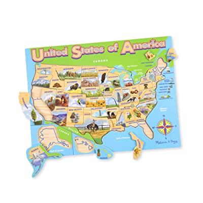 Melissa & Doug USA Map Wooden Jigsaw Puzzle (45 pcs): Melissa & Doug: Toys & Games