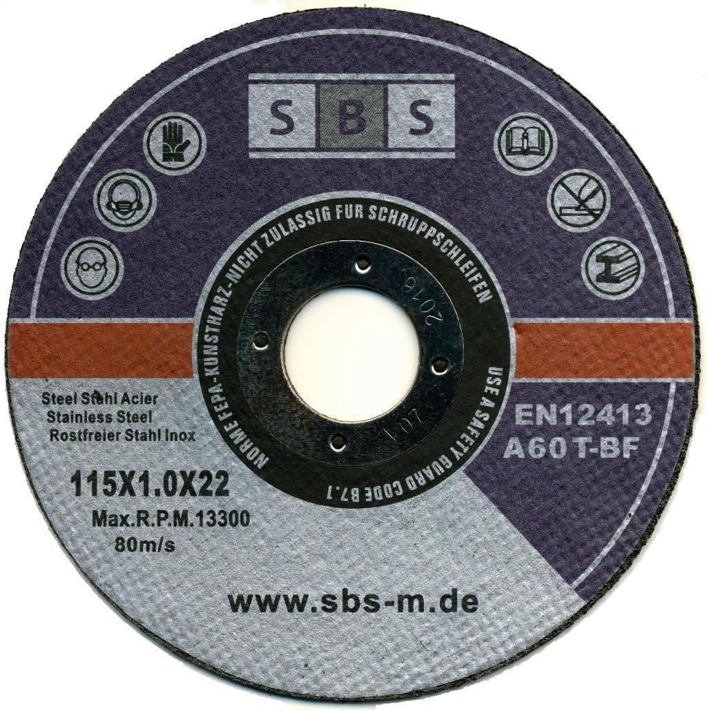 SBS - Schlößer Baustoffe - Disco de corte (acero inoxidable, 50 unidades, 115 x 1 mm)