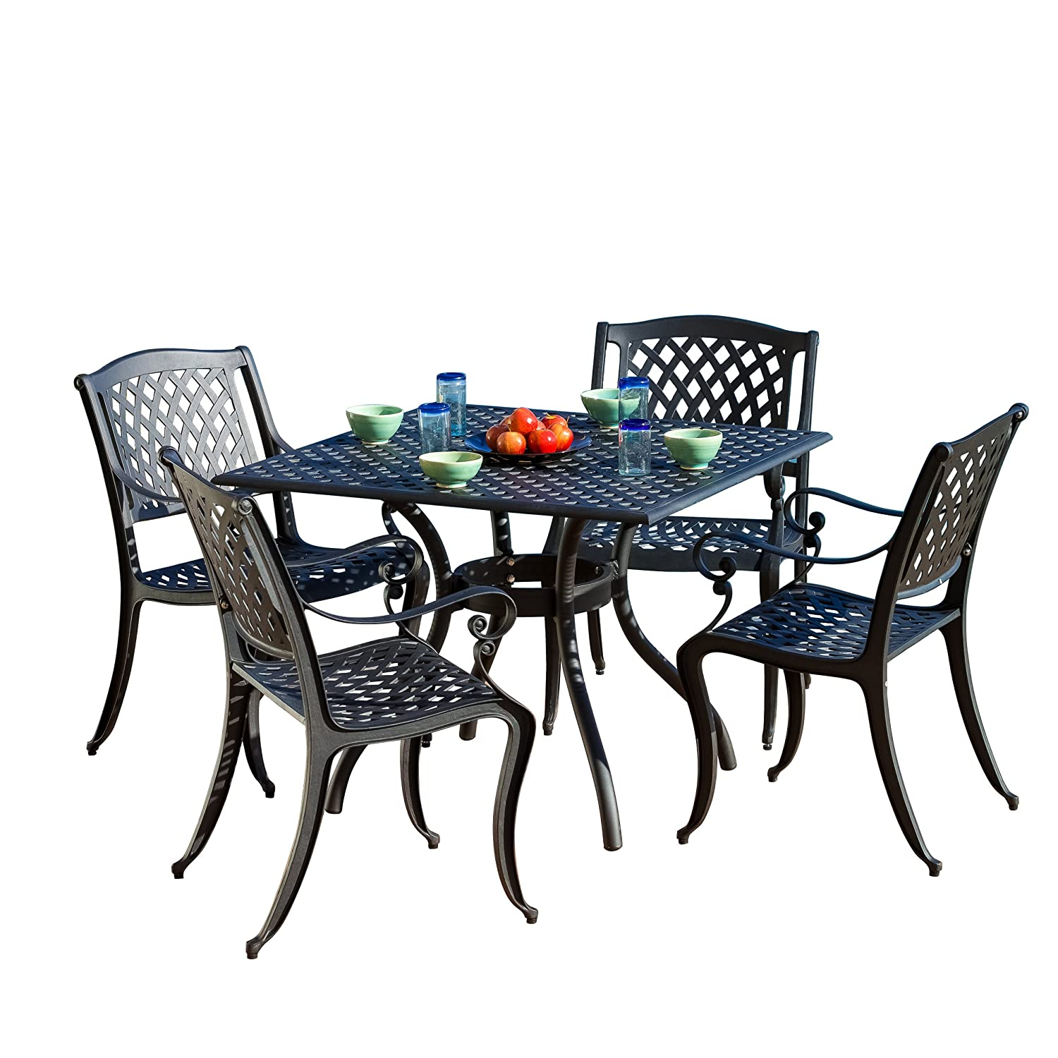Amazon.com: Best Selling Home Decor 5 Piece Gaffey Cast Aluminum Outdoor  Dining Set, Black Sand: Garden U0026 Outdoor