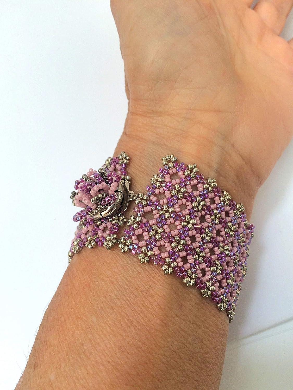 silver white beaded bracelet beadloom bracelet gold rose gold Handmade White set weave bracelets with miyuki beads