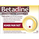 Betadine Anaesthetic Lozenges - Triple Action Sore Throat Lozenges - Numbs a Painful Sore Throat Fast, Honey & Lemon, 16 Pack
