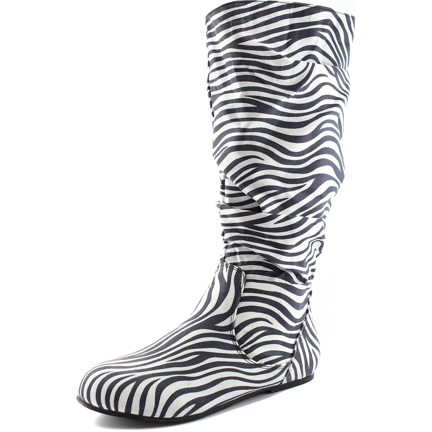 Dailyshoes Women's Mid Calf Zipper Slouch Suede Comfortable Boots B00MX8AO12 6.5 B(M) US|Zebra Seude