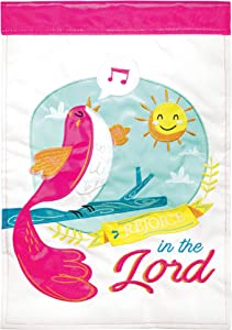 Dicksons Rejoice in The Lord Hot Pink 18 x 13 Double Applique Polyester Garden Flag