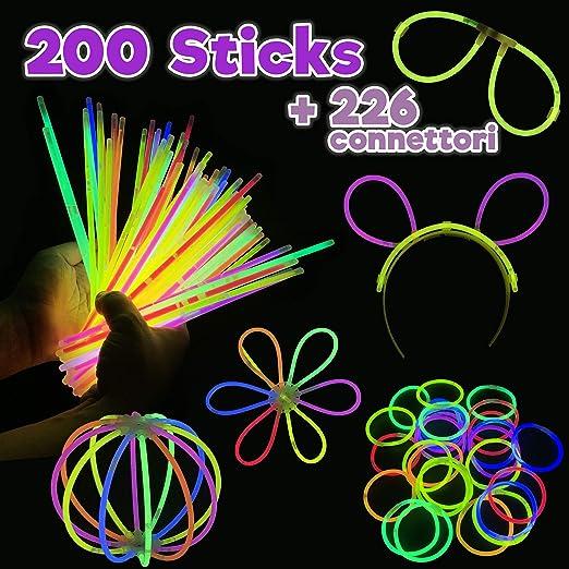200 Pulseras Luminosas | Varitas Luminosas | Fluorescente Palitos Multicolores | más Brillo y más Duración | Kit 10 Gafas | 5 Cintas para la cabeza | Bolas de Flores Brillantes y Pulseras Triples: Amazon.es: Hogar