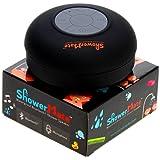 Showermate Wireless Bluetooth Lautsprecher | Wasserdichtes Duschradio mit Freisprecheinrichtung und eingebautem Mikrofon | Kompatibel mit allen Bluetooth Geräten – Schwarz