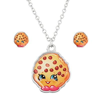 Shopkins Silvertone Kooky Cookie Necklace and Earrings Set: Toys & Games
