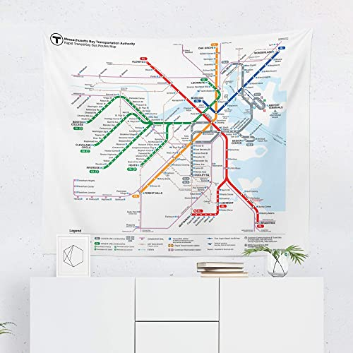 Boston MBTA Subway Train Map Tapestry - Massachusetts Bay Wall Tapestries  Hanging Décor Bedroom Dorm College Living Room Home Art Print Decoration