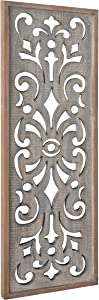Kate and Laurel Palmares Rustic Decorative Wall Panel, 12 x 31.5, Rustic Gray and Brown, Farmhouse Lattice Panel Decor for Wall