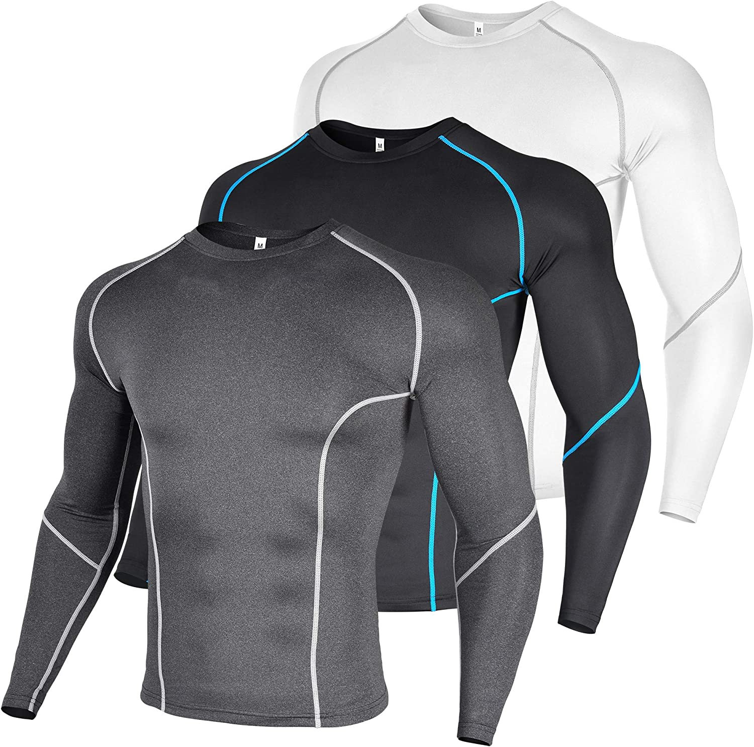 Xtextile Men's Dry Fit Compression Base Layer Athletic Workout Long Sleeve Shirts 3 Pack