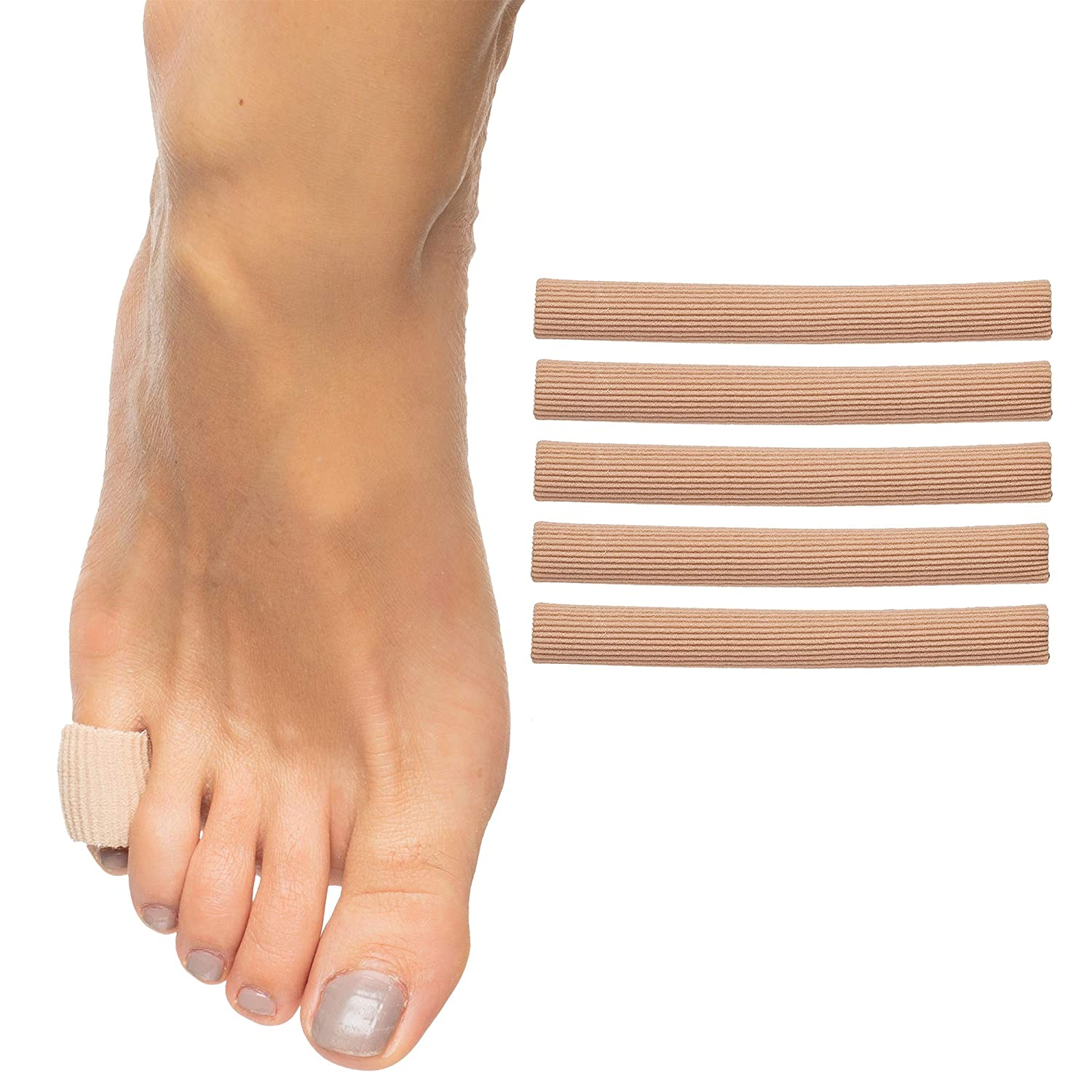"""ZenToes Open Toe Tubes Fabric Gel Lined Sleeve Protectors for Corns, Blisters, Hammertoes - 5 Pack - 29"""" of Tubing"""