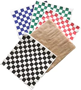 Combo Pack Natural Kraft and Checkered Sandwich Paper Wrapping Sheets 12 x 12 inch Deli Food Basket Liners Black Red Green Blue Beige (Pack of 50)