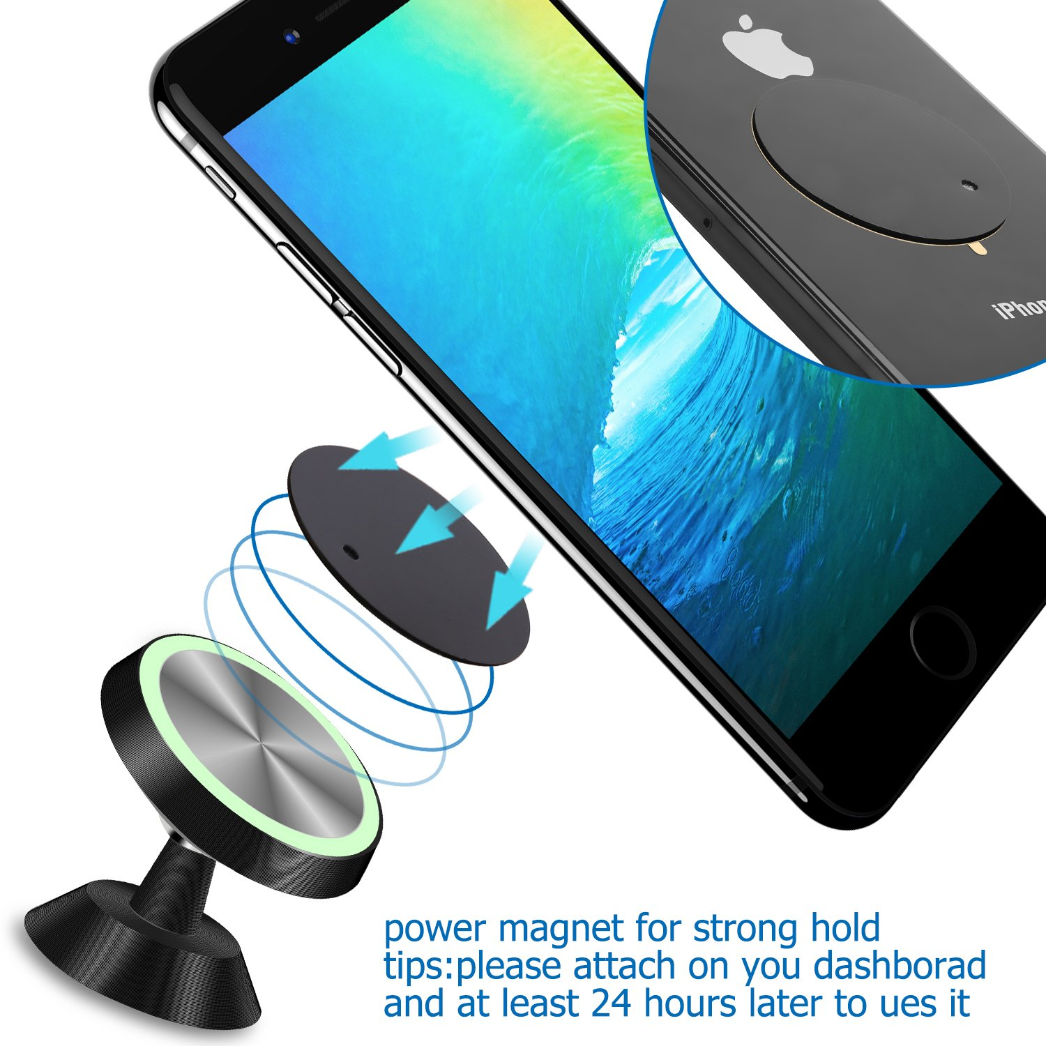 Magnetic Car Phone Mount,KENVENTY 360/°Universal Rotation Magnetic Luminous Car Phone Holder For Car Dashboard,Metal Mobile Phone Holder For iPhone Android Smartphones and more Kenventy Factory 4351524944 Samsung