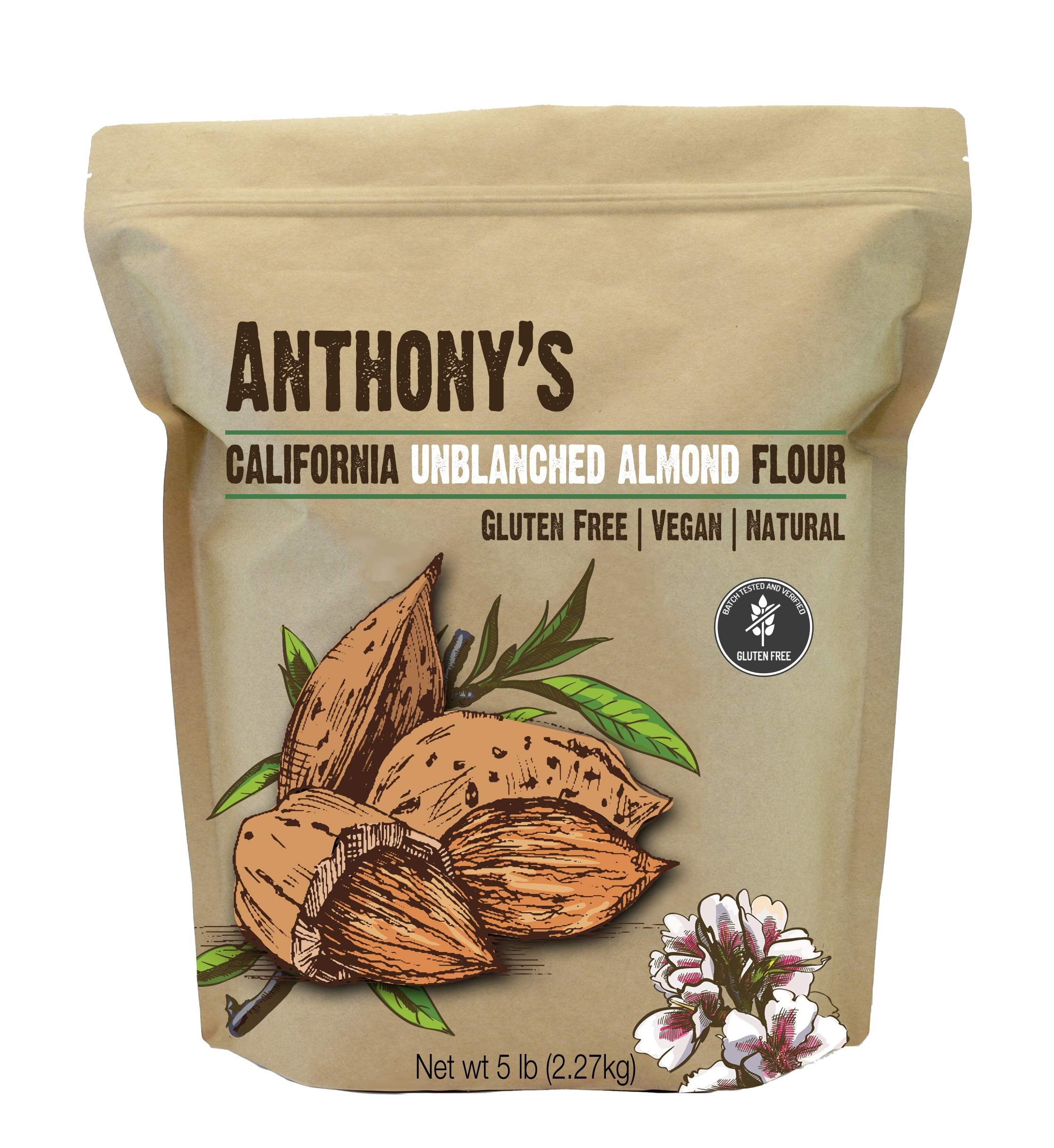 Anthony's Almond Meal Flour, Natural Unblanched, 5lbs, Batch Tested Gluten Free, Keto Friendly