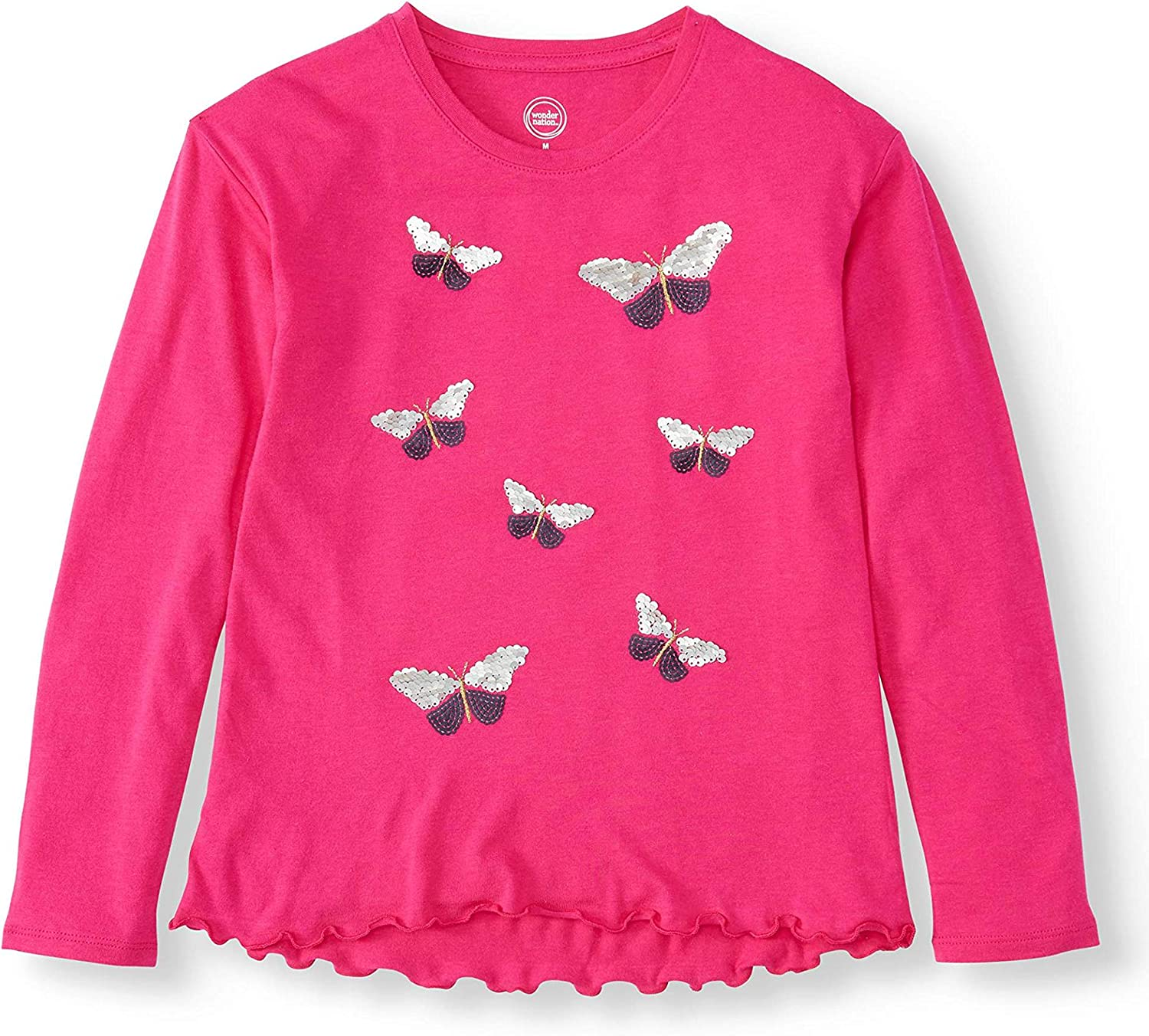 Big and Plus Girls Reversible Flip Sequin Long Sleeve Tee for Little