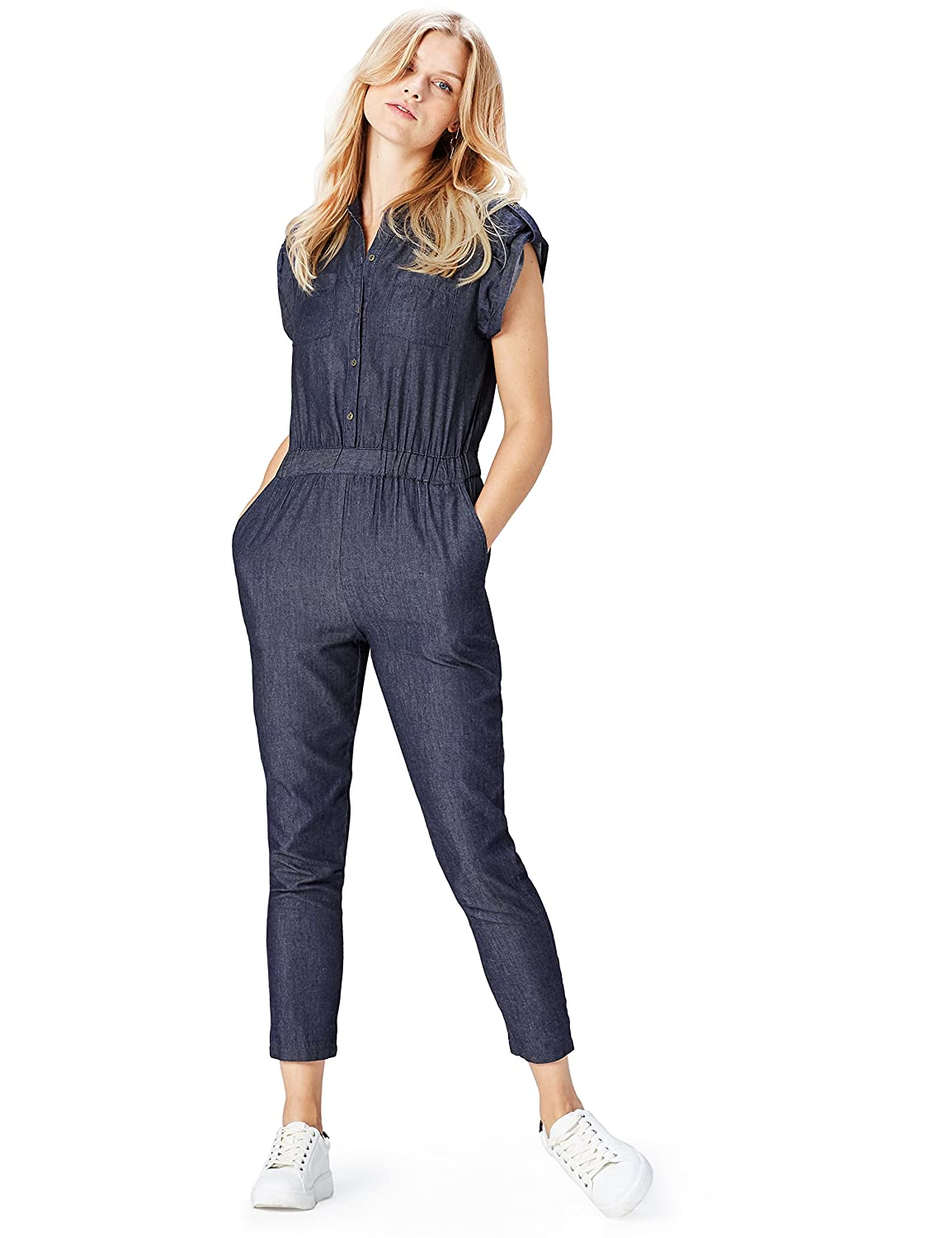 TALLA 38. Marca Amazon - find. Mono Cambray para Mujer