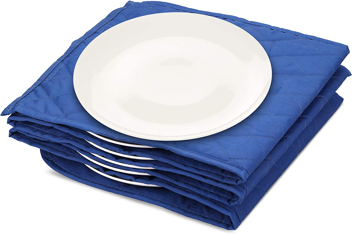 Navaris Electric Plate Warmer - 10 Plate Blanket Heater Pockets for Warming Dinner Plates to 165 Degrees in 10 Minutes - Thin Folding Design - Blue
