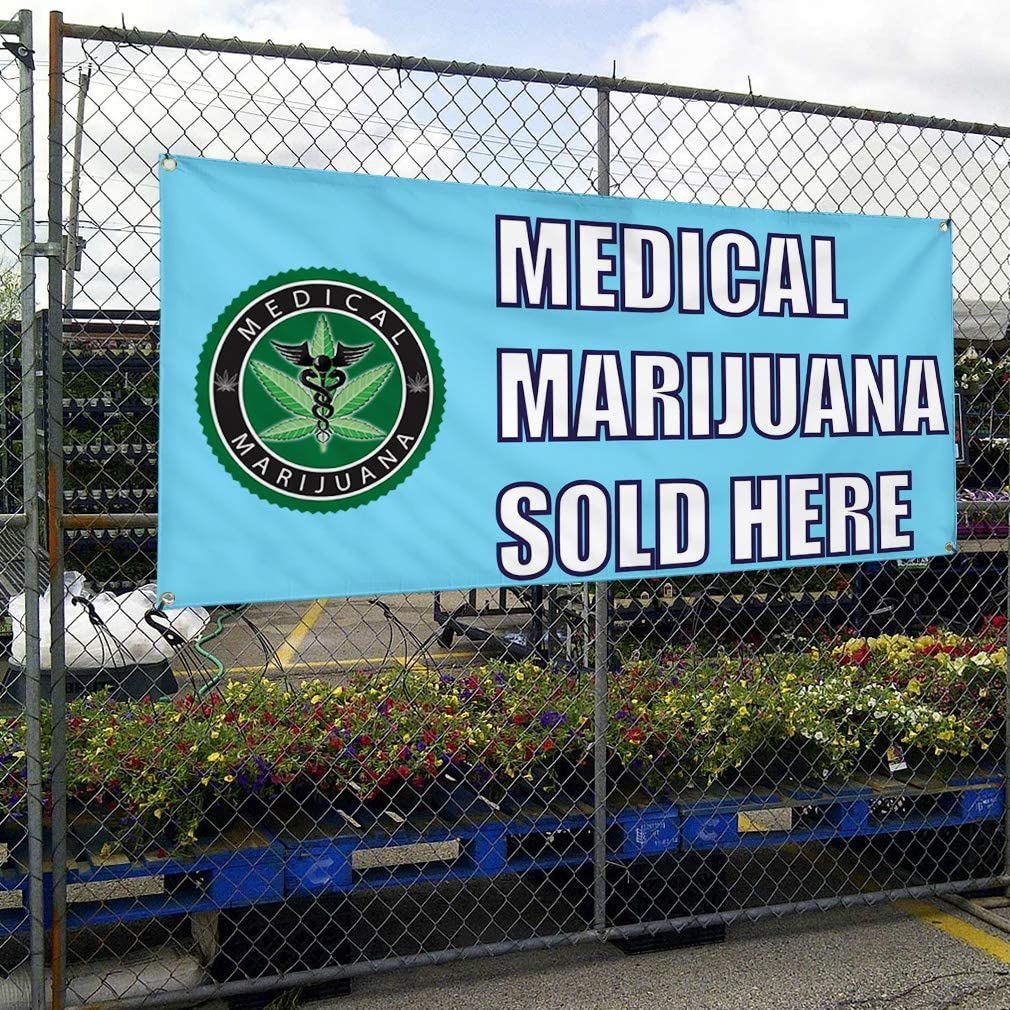Vinyl Banner Sign Medical Marijuana Sold Here Outdoor Marketing Advertising Aqua-Blue 28inx70in Multiple Sizes Available 4 Grommets Set of 2