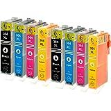 8 Logic-Seek Tintenpatronen kompatibel zu HP 364XL je 2x Schwarz je C, M, Y.BK 28ml, Color je 18ml, mit Chip und Füllstandsanzeige